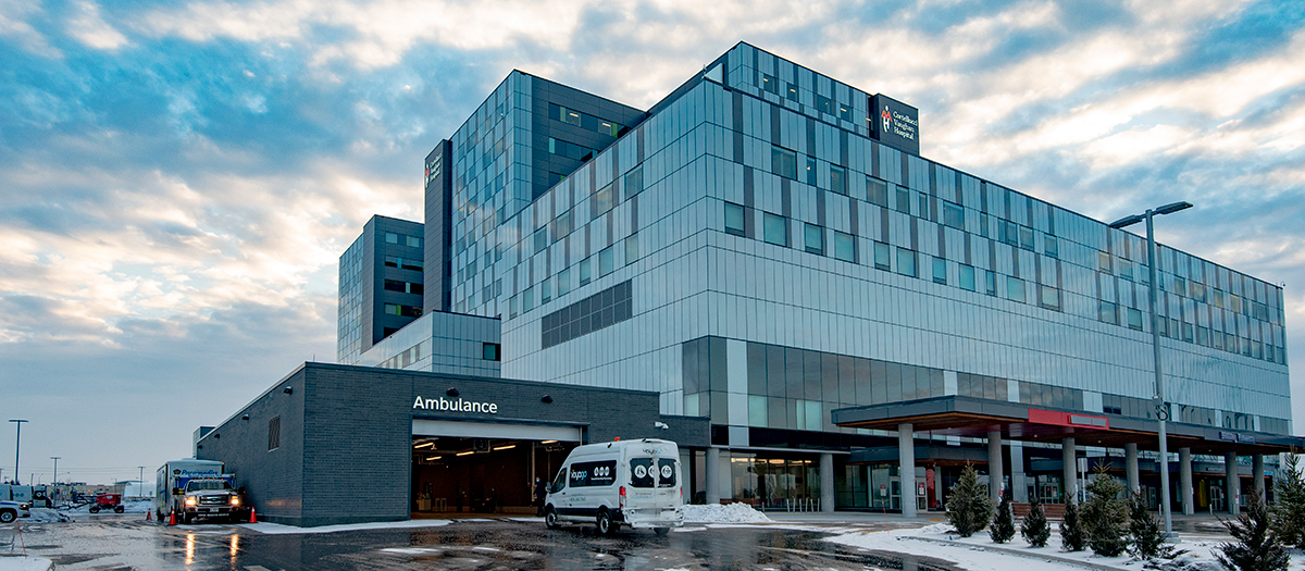 The first patient transfer from Mackenzie Richmond Hill Hospital arrives at Cortellucci Vaughan Hospital on Sunday, February 7, 2021.