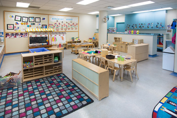 Showcasing one of the childcare centre rooms, furniture and toys