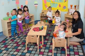 Group of children in a childcare room with a teacher