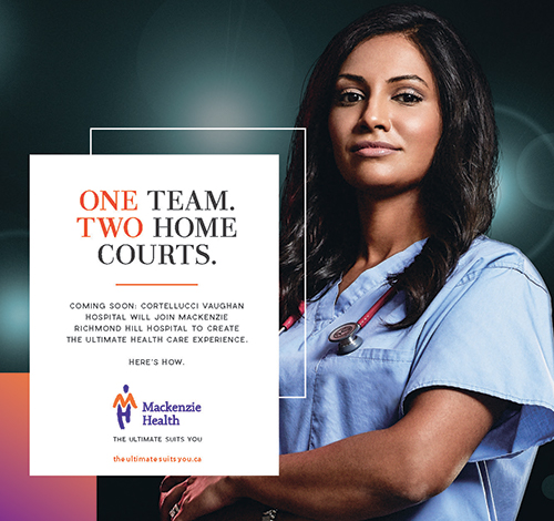 A promotional image describing One Team. Two Home Courts.